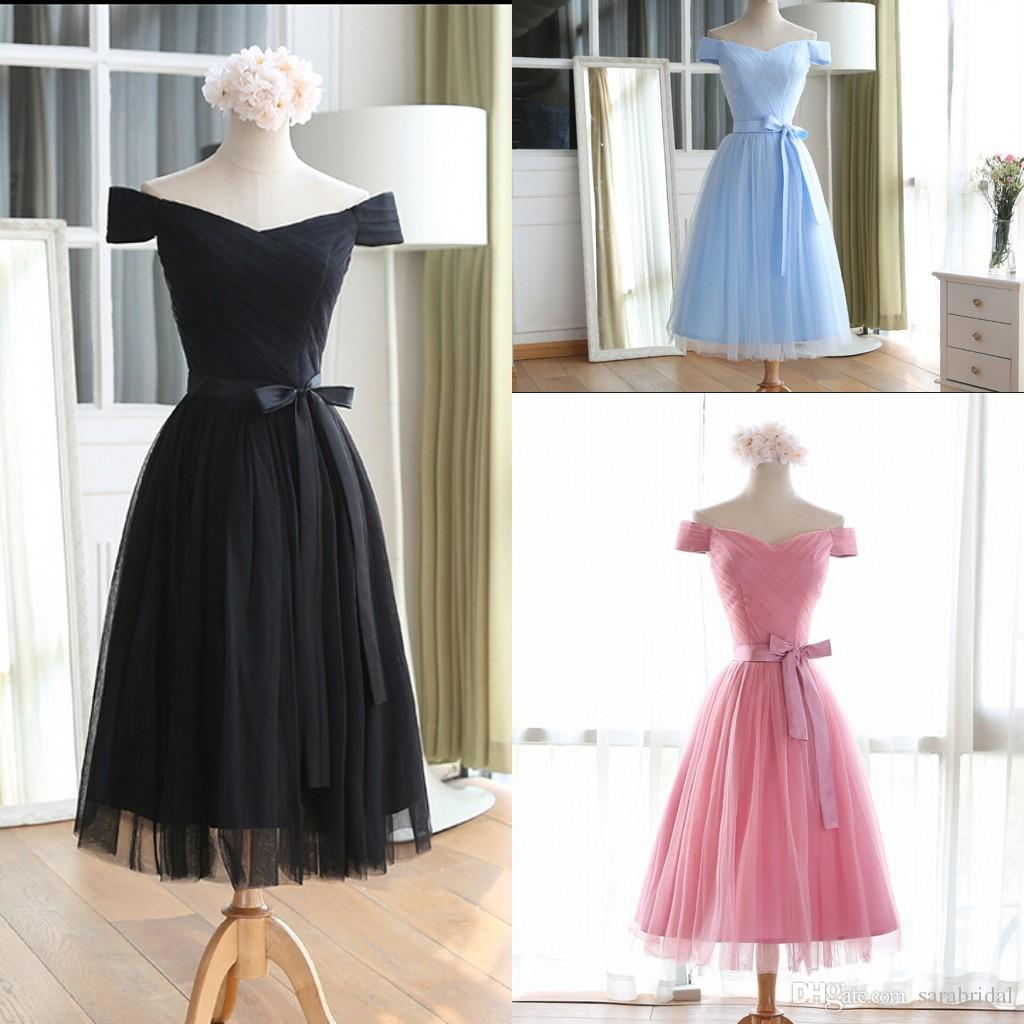 2016 Tea Length 8th Grade Prom Dresses Cap Sleeves Ruched A Line ...