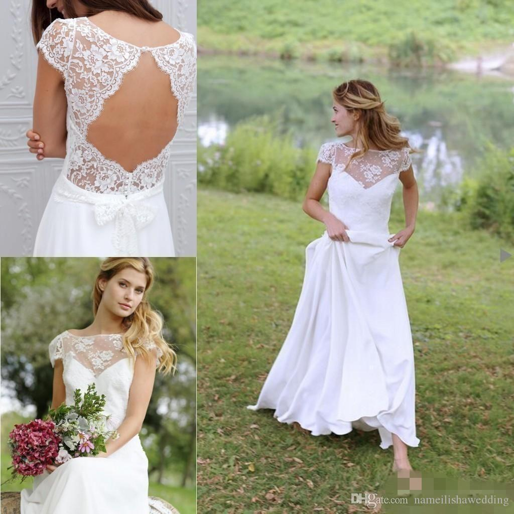 Country Western A Line Cheap Chiffon Bridal Gowns Beaded: Discount Modest Boho Country Wedding Dresses 2016 Cheap
