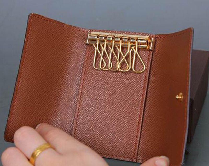 2017 Wholesale original box luxury multicolor short wallet six key holder women men's classic zipper pocket key chain 62630