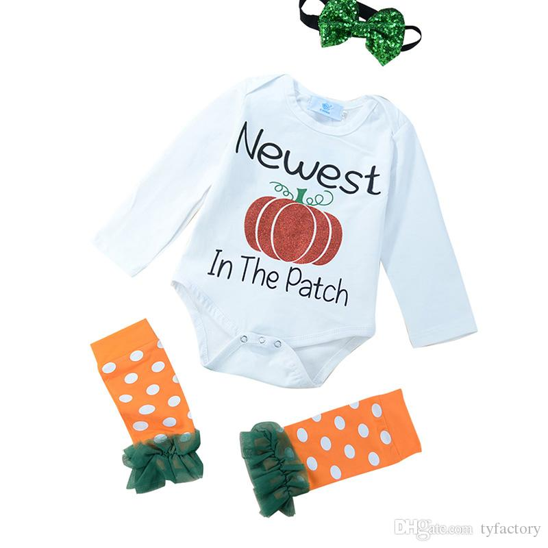 2018 newborn baby boy girl halloween rompers onesies kid clothing romperleggingsheadband outfits kids pumpkin dot lace baby toddler from tyfactory