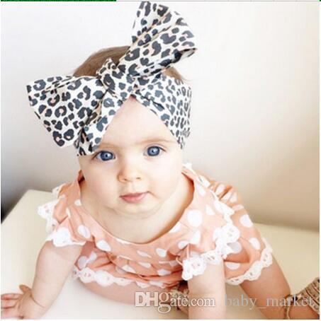 Neue Mode Baby Mädchen Leopardenaufnahme Blumen Bowknot Stirnband Elastische Stretch Große Bogen Haarband Kinder Haarschmuck /