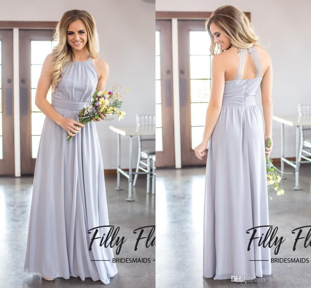 3e16078220f 2018 Modest Silver Chiffon Ruffles Long Halter Bridesmaid Dresses Floor  Length Open Back Boho Country Wedding Party Maid Of Honor Gowns Blush Pink  ...