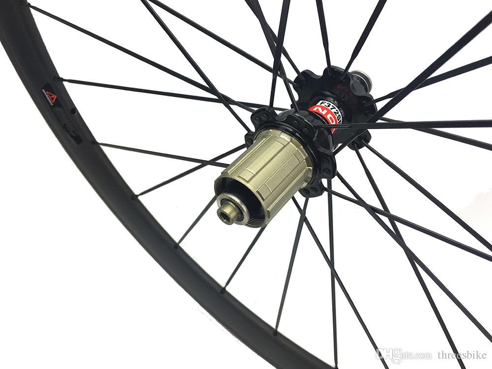 60mm Karbon Yol Bisikletler Wheelset 25mm Genişlik Karbon Fiber Bisiklet Tekerlek Toptan ön ve arka bisiklet tekerlek Seti T700 Karbon