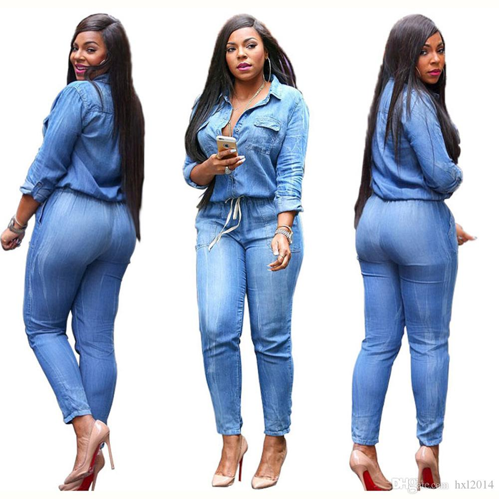 f746f9d38914 2019 2019 Women S Clothing Jumpsuits Rompers Plus Size Sexy Denim Solid  Long Sleeve Enteritos Mujer Slim Casual Bodysuit Playsuits And Jumpsuits  From ...