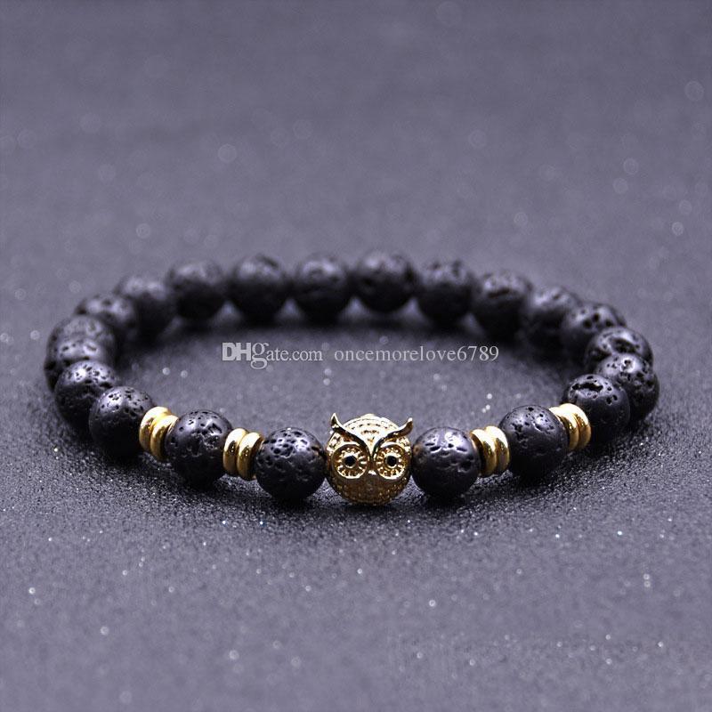 Hot sale Natural Lava Stone Gold silver Plated Owl Bracelets Reiki Chakra Healing Balance Beads for Men Women Gift Charm Yoga Jewelry