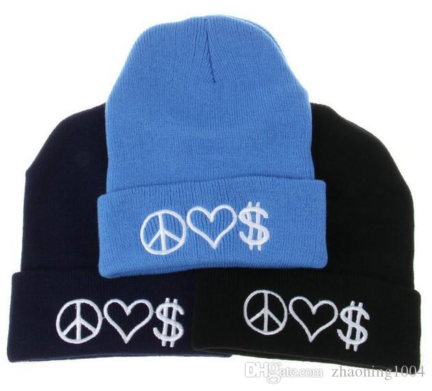 a15cdaf9ad9 Peace Love Money Letter Embroidery Hip Hop Knitted Slouchy Beanies For  Adults Mens Womens Winter Hats Popular Snow Cap Pink Red Black Color Knit  Hat Hats ...