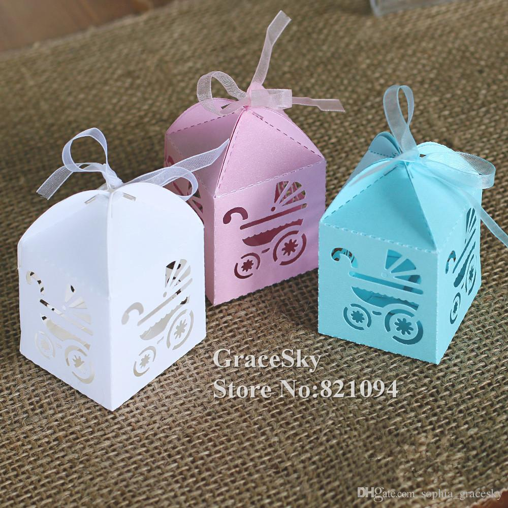laser cutting baby stroller Car Design paper candy chocolate snack boxes for birthday Baby Shower party decoration