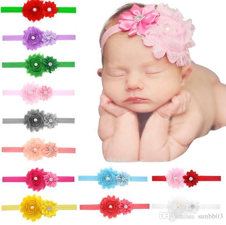 Hot Europe Fashion Cute Baby Head Bands Flowers Headband Kids Girls Florals Hair Band Elastic Headwear Children Hair Accessory