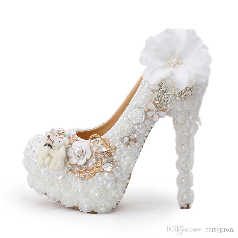 2016 Special Design Wedding Shoes White Pearl High Heel Bride Dress Shoes  Lace Flower And Lovely Bear Platform Prom Party Pumps Belle Wedding Shoes  Bespoke ... 0e966cc2ca03