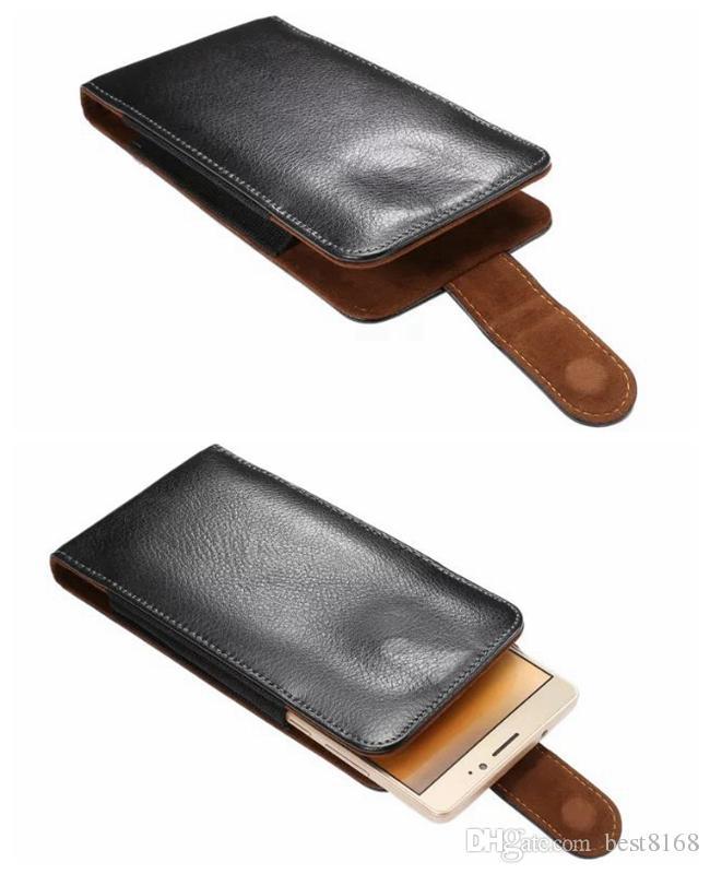 Hip Flip Cover Holster Vertikal Clip Genuine Real Läderfodral för iPhone 12 11 XR XS 7 6 SE 5 Galaxy S20 Not 20 LG Styleo6 360 Belt påse
