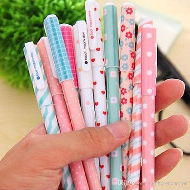 / 컬러 젤 펜 카와이 편지지 한국어 꽃 Canetas Escolar Papelaria 선물 사무용 재료 학교 용품