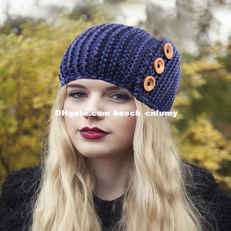 Compre Invierno De Las Mujeres Cálido De Lana Tejida Cinta De Sombreros  Sombreros Vacíos Del Cráneo Gorro De Esquí De Lana De Punto Cráneo Vacío  Beanie ... 3da43c54aea