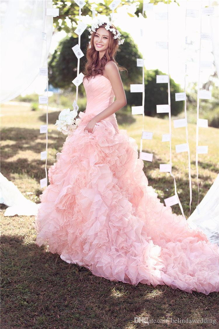Blush Pink Country Style A-line Ruffles Beach Cheap Wedding Dresses ...