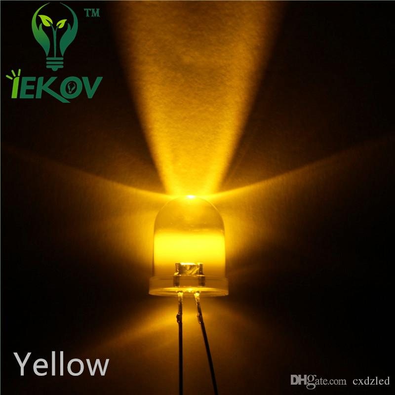 /bag 10MM High Quality Factory Price Round top Yellow LED Emitting Diodes Super bright LED Hot SALE Support Retail and Wholesale