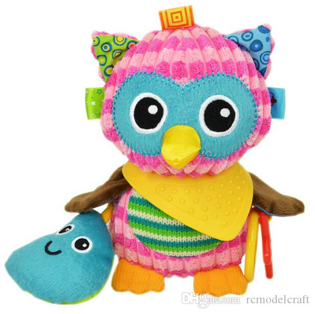 Cute Plush Owl Toy Comfort Baby Infant Towel With Sound Paper And