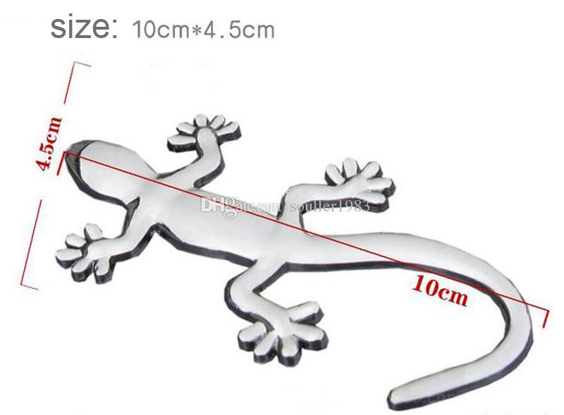 Moda metal puro estilo decorativo Cool 3D emblema lagarto pegatina Metal Gecko pegatinas de coches 10 unidades un paquete envío gratis