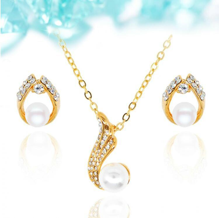 18KGP Pearl Necklace Earrings Jewelry Set Fashion Women Best Gift Jewelry High Quality Jewelry Sets 2016082-079