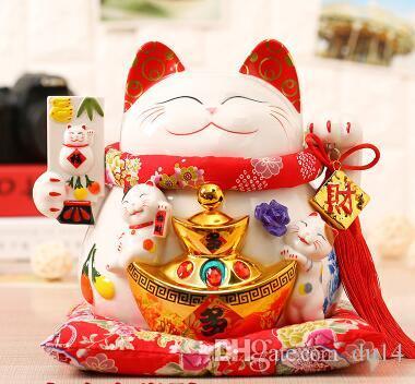 Lucky Cat Japanese TheJapaneseLucky Kirgisistan Gold Keramik Lucky Cat Ornamente große japanische Sparschwein Fortune Cat