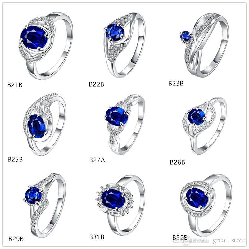 Folhas oval azul gemstone 925 anéis de prata gtgr10 presente de prata esterlina 10 peças estilo misturado