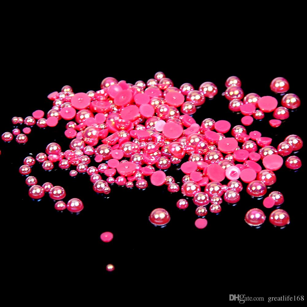 1.5-10mm Rose AB Half Round Craft ABS Resin Pearls Flatback Scrapbook Glue On Beads For 3D Nails Art Backpack Design Decorations