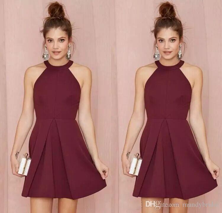 Cheap Homecoming Dresses Burgundy Short Bridesmaid Dresses Halter ...