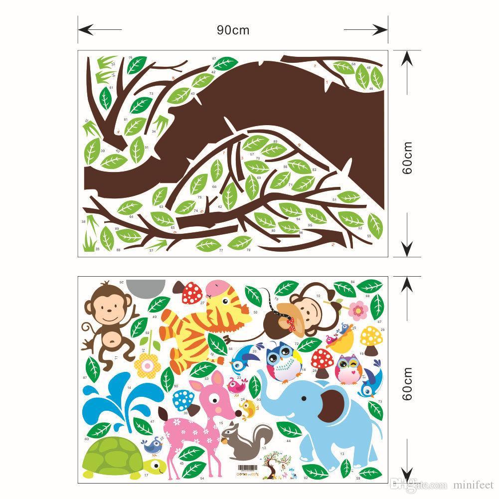 Cartoon wall stickers waterproof PVC wallpapers kindergarten Nursery / Kid's Room sitting room decor owl monkey park arts decals can remove