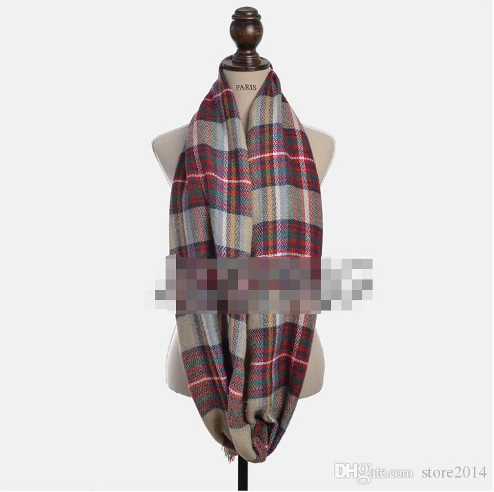 2018 Neueste Mode Nachahmung Kaschmir Plaid Infinity Schal / Loop Schal Frauen Schal Warme Weiche Winter Tartan Schal 20 Farbe