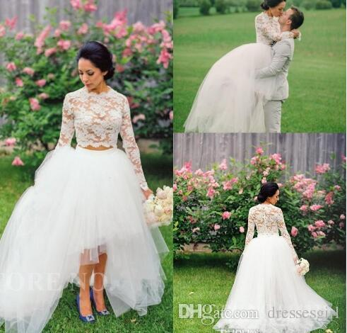 Discount Vintage High Low Wedding Dresses 2016 Cheap White Lace Two ...