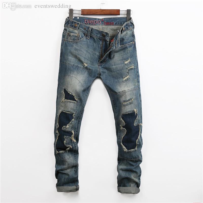2018 wholesale jeans homme biker famous brand jean men ripped 2016 fashion casual korean hole. Black Bedroom Furniture Sets. Home Design Ideas