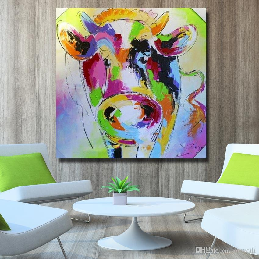 Animal subjects pictures on wooden frame hand painted modern abstract knife cow oil painting canvas wall art decor