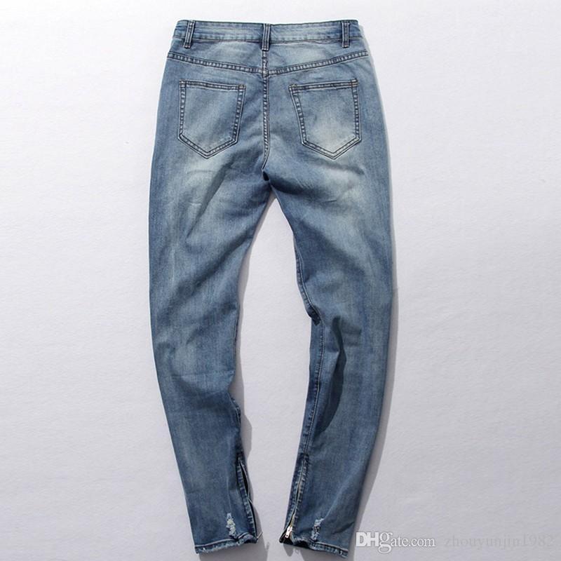 Hip Hop Kanye West Same Jeans Herren Hellblaue Designer Rockstar zerstört Zerrissene Skinny Distressed Zipper Jeans