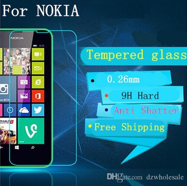 Schermo in vetro temperato Premium 9H 0.26mm Nokia Lumia 820 830 930 540 A110 950 950XL 620 650 550 Pellicola protettiva 500 pz / lotto