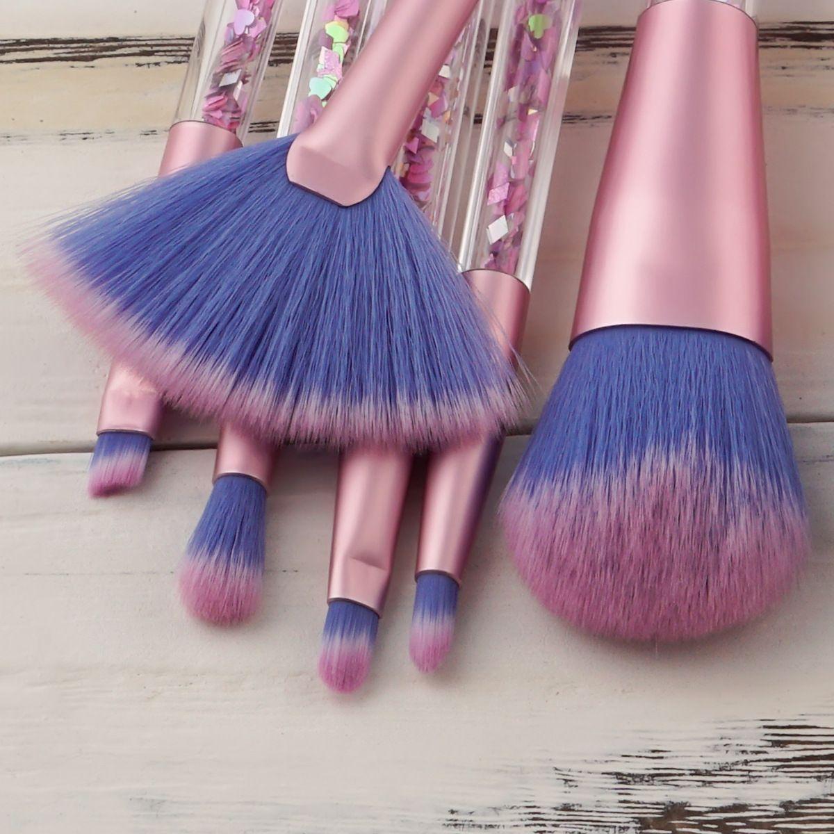 Glitter Kristal Makyaj Fırça Seti 7 adet Elmas Profesyonel Vurgulayıcı Fırçalar Kapatıcı Makyaj Fırça Seti Mermaid Fırçalar Kiti