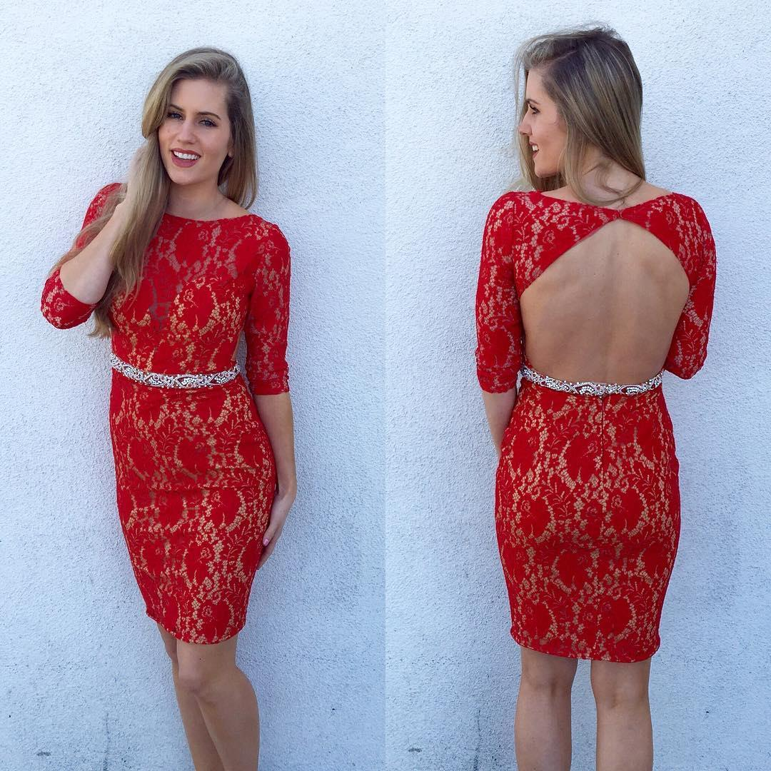 Red Knee Length Backless Cocktail Dresses Sexy Girls Lace Jewel Neck ...