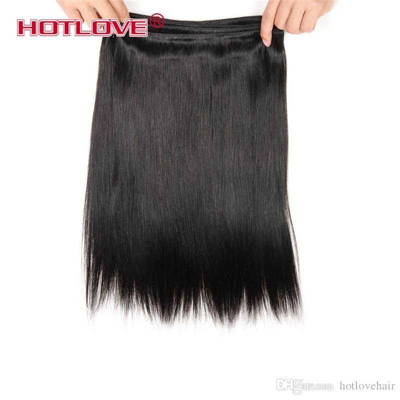 HOTLOVE Hair Products Brazilian Virgin Straight Hair 3/4 Bundles Deal Unprocessed Human Hair Can Be Dyed 8-28 inch No Shedding No Tangle