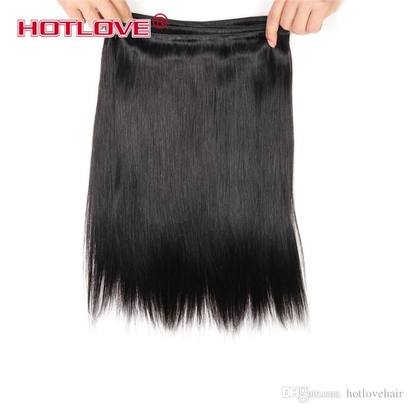 La mejor calidad 8A indio virginal del pelo recto India armadura del pelo paquetes 3 piezas 4 piezas completa cabeza HOTLOVE paquetes del pelo humano