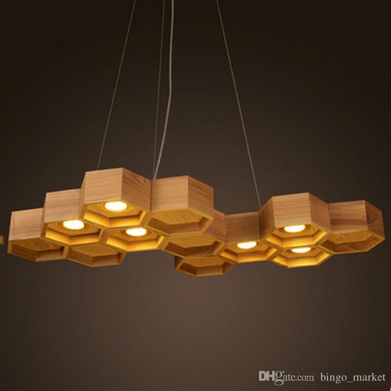 Discount Modern Home Wooden Honeycomb Pendant Light Living Room Decoration  Lamp Diner / Cafe Light Ac90 265v Red Pendant Lights Metal Pendant Light  From ... - Discount Modern Home Wooden Honeycomb Pendant Light Living Room