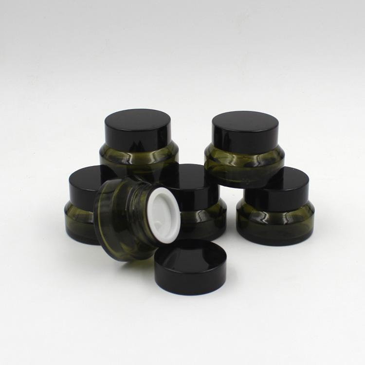 15g green glass jar, 15cc green cream bottle,Oblique shoulder glass container,cosmetic packaging