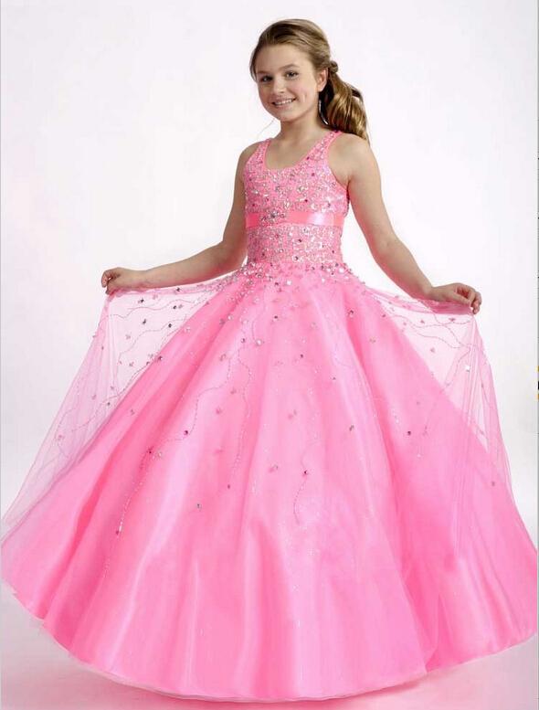 Lnexpensive Lovely Flower Girl Dresses Bolero girls dresses Pageant for girls Sparkly Crystal beaded children Prom dress HY1128