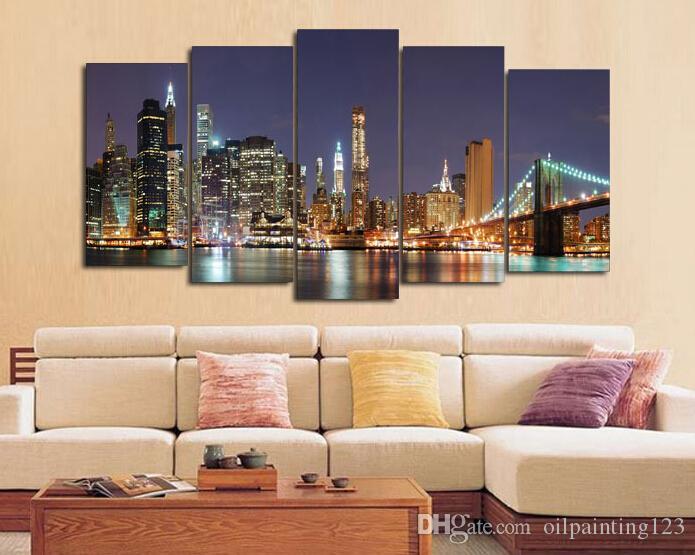 Incorniciato 5 pannello Wall Art città Pittura ad olio su tela con texture astratta dipinti immagini Decor soggiorno decorazione immagini
