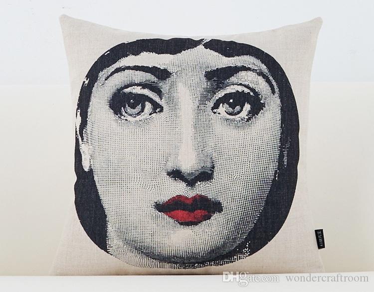 European Vintage Piero Fornasetti Faccia disegni Cuscino Rosso labbra Occhi Cuscino Decorativo Divano Biancheria in cotone Cuscini Cuscini Copertine