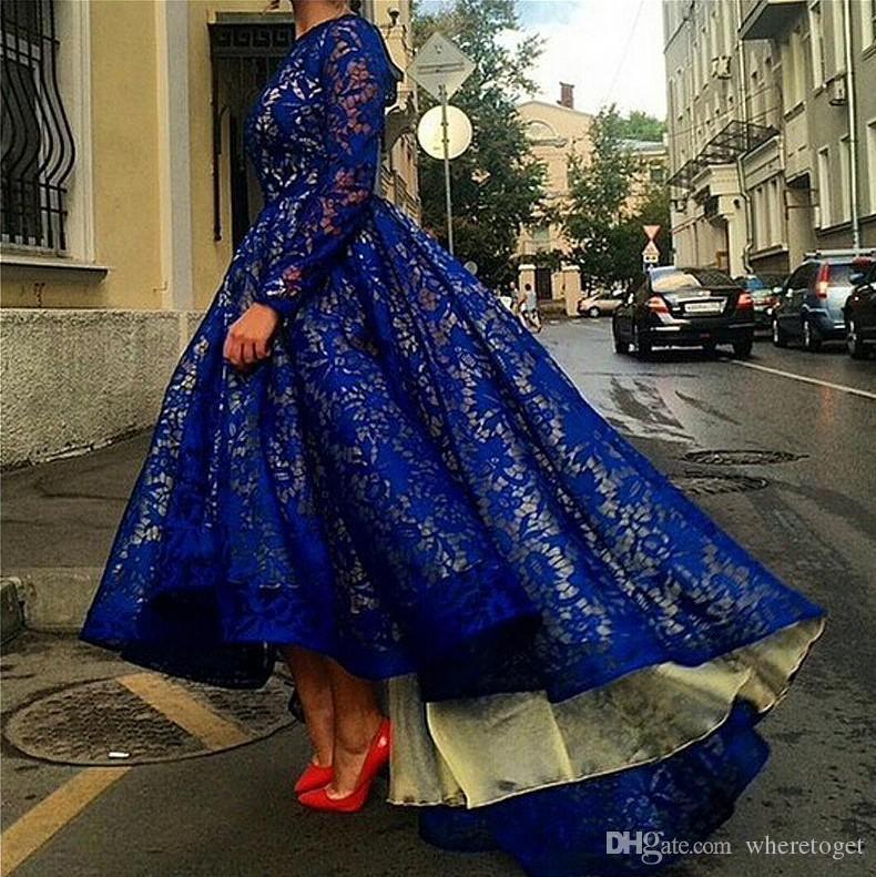 Арабский стиль с длинными рукавами платья выпускного вечера королевские синие кружевные платья 2019 Дешевые новые элегантные платья знаменитостей Привет Ло вечерние платья