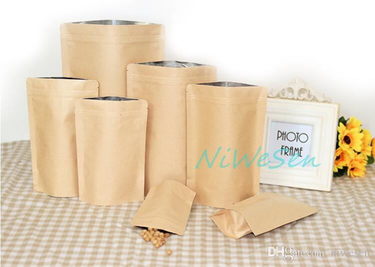 12X20 + 4cm X in piedi carta kraft marrone con sacchetti interni alluminati, riutilizzabile ziplock mestiere carta chicchi di caffè sacco di imballaggio