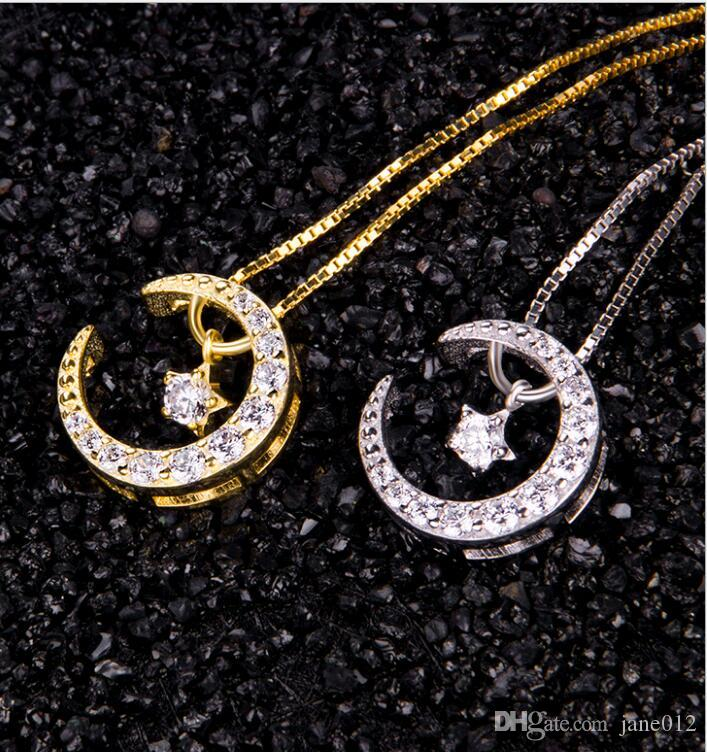Brand New Dancing Pendant Necklace Solid 925 Sterling Silver Star Moon Elegant Ladies Choker Necklace Jewelry for Women Best Gift
