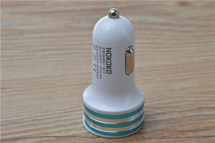 모든 전화 혼합 색상 무료 배송 보편적 인 듀얼 USB 포트 차량용 충전기 2.1A의 +의 1A