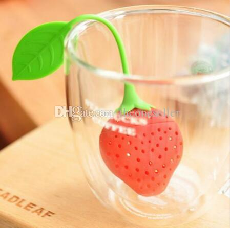 New Silicone Cute Red Strawberry with leaf Tea Leaf Strainer Herbal Spice Tea Infuser Filter