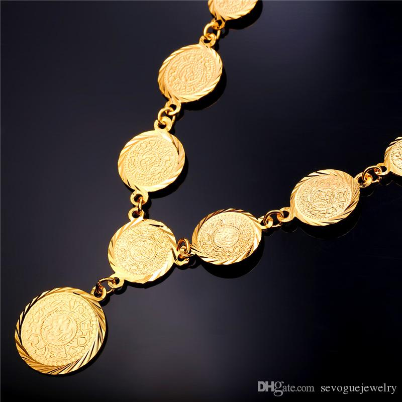 Hot Old Coin Earrings Necklace Set New Arrival 18K Real Gold Plated Vintage Jewelry Set 7-NE882K