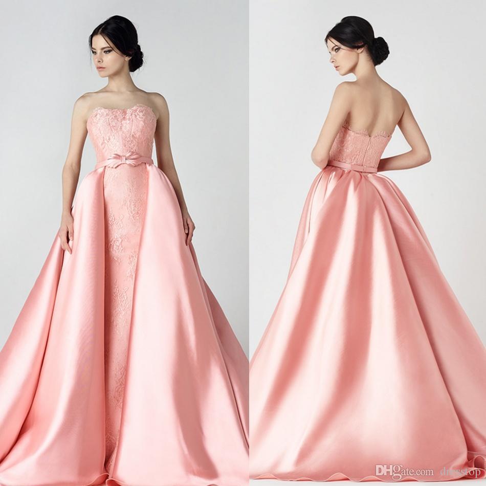 Prom Dress With Detachable Train: Saiid Kobeisy Lace Detachable Train Prom Dresses Long