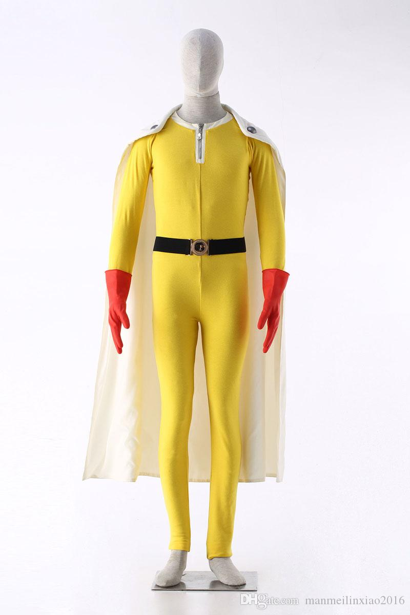 Popular Anime Original ONE PUNCH-MAN Wanpanman Saitama Cosplay Costume with Gloves Jumpsuit Cape Fighting Uniform Customized