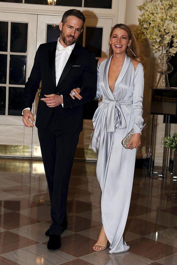 Ralph & Russo Silver Long Sleeve Asymmetrical Split Evening Dresses 2019 Blake Lively V-neck Elegant Dubai Arabic Occasion Prom Formal Dress